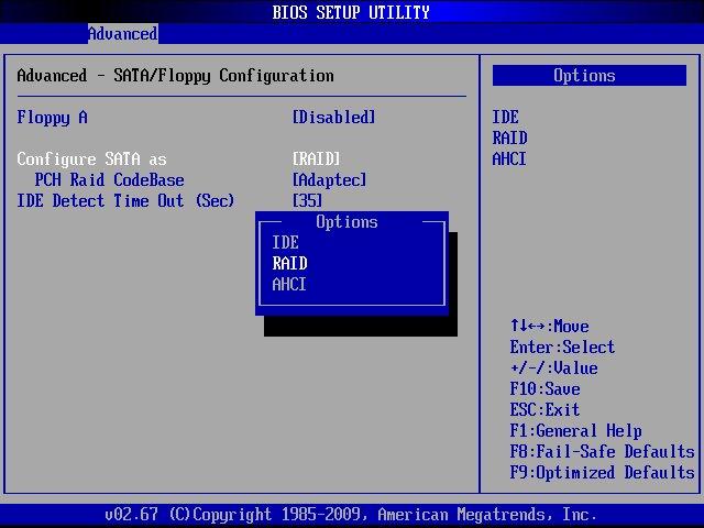Configure SATA as